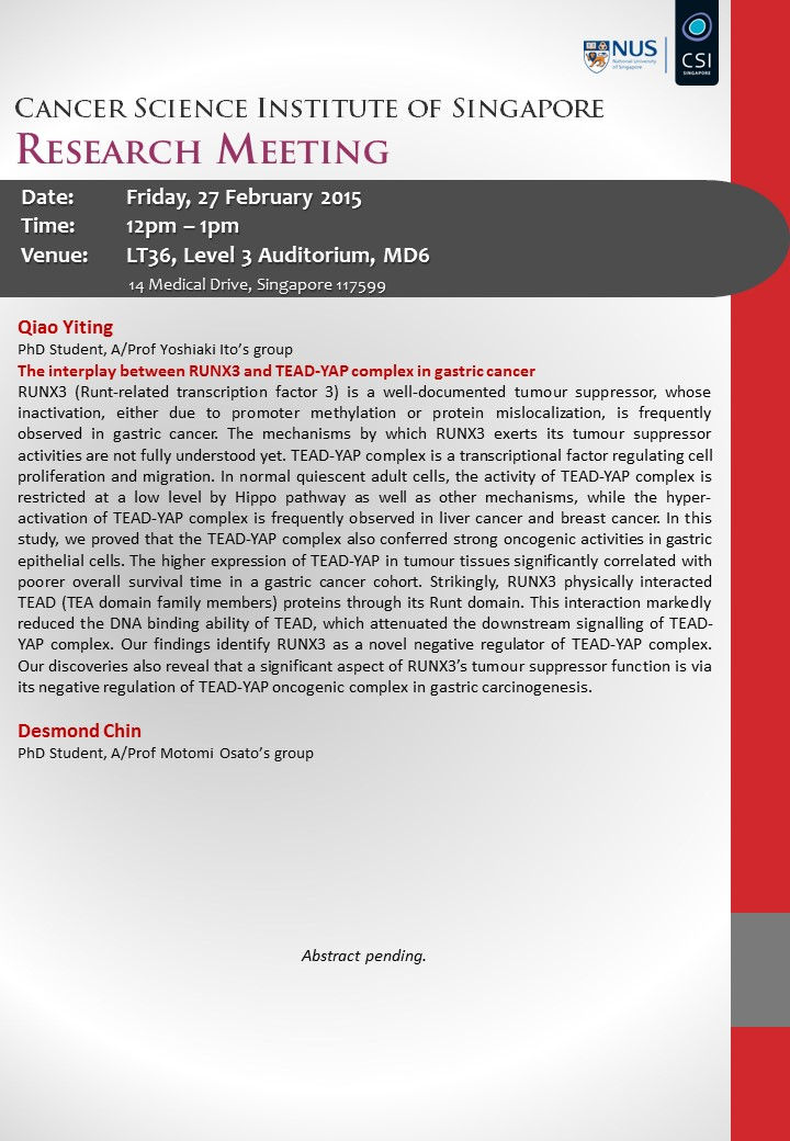 27 Feb - CSI Research Meeting